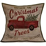 Aremazing Red Truck and Fresh Christmas Tree Throw Pillow Covers Cotton Linen Square Pillow Case Cushion Cover Home Decorative for Sofa 18''x18'' (Christmas Trees)