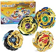 Ingooood Metal Master Fusion Gyro Toys for Kids, 4X High Performance Tops Attack Set with Launcher and Grip St