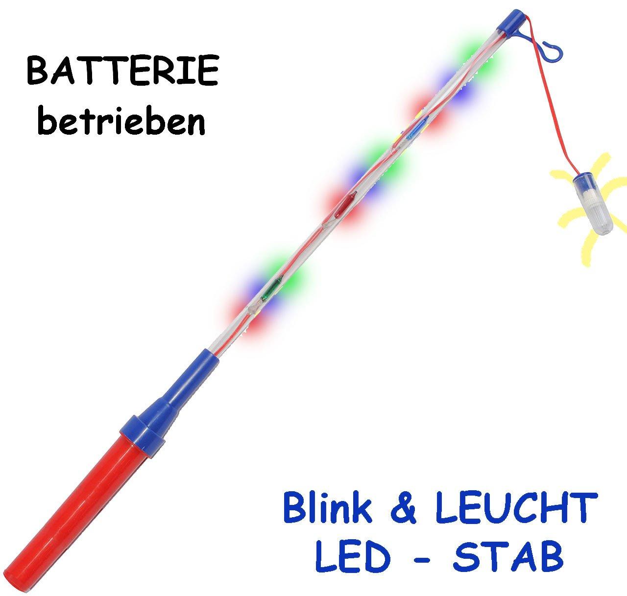 alles-meine.de GmbH 1 Stück _ LED - Blink & LEUCHT - Laternenstab - elektrisch Blinkender Stab - incl. Name - für Batterie - z. B. für Laternen & Lampions - 51 cm - Bunte Farben..