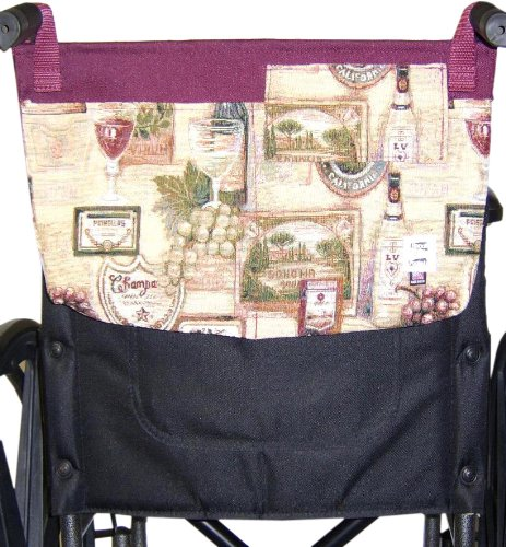 Handi Pockets 3c5wn Storage Accessory Wheelchair, Tapestry, Wine with Flap