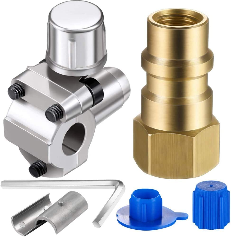 Alician 2 Packs Air Conditioning Retrofit Valve with Dust Cap Converts R12 to R134a Piercing Tap Valve Replace