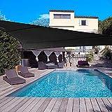 DJH sun shade sail uv block patio sail canopy outdoor patio garden swimming pools (10'x10'x10', Black)