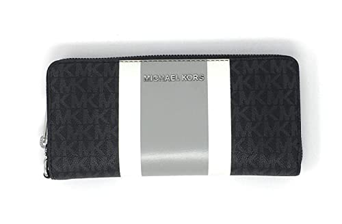 Michael Kors Jet Set Travel Continental Zip Around Leather Wallet Wristlet (Black PVC Multi)