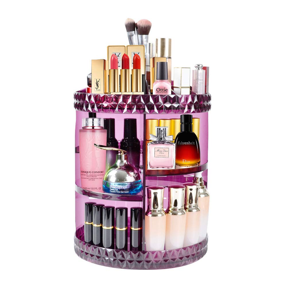 Makeup Organizer, 360° Rotating Adjustable Carousel Storage for Cosmetics, Toiletries, and More — Great for Vanity, Bathroom, Bedroom, Closet, Kitchen