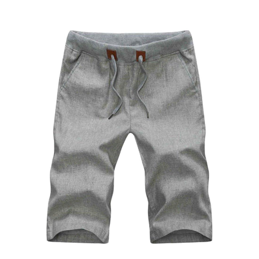 YUELANDE Men Solid Cotton Linen Drawstring Casual Beach Shorts Boardshort Swim Trunk