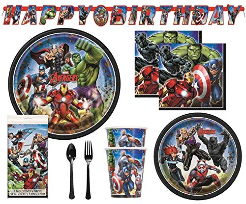 Find Cheap Avengers Birthday Decorations And Tableware Plates Napkins Cups Table Cover Banner Premiu...