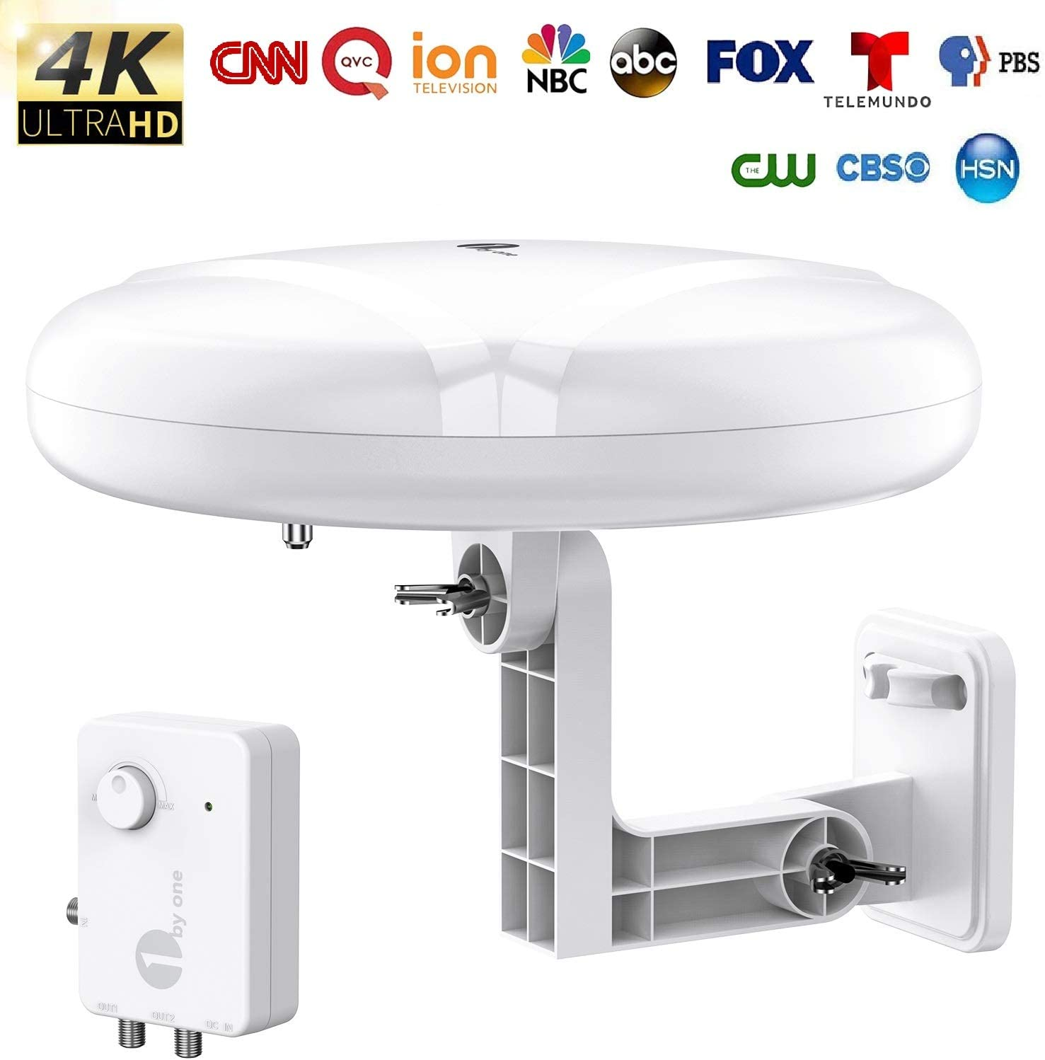 HDTV Antenna - 1byone 360° Omni-Directional Reception Amplified Outdoor TV Antenna Long Range for Indoor