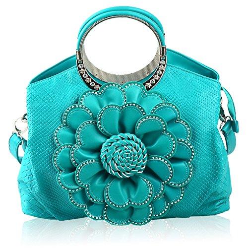 KAXIDY Mujer Flores y Cristal Bolso de Mano Cuero Bolso de asas Bolso de Hombro Azul celeste