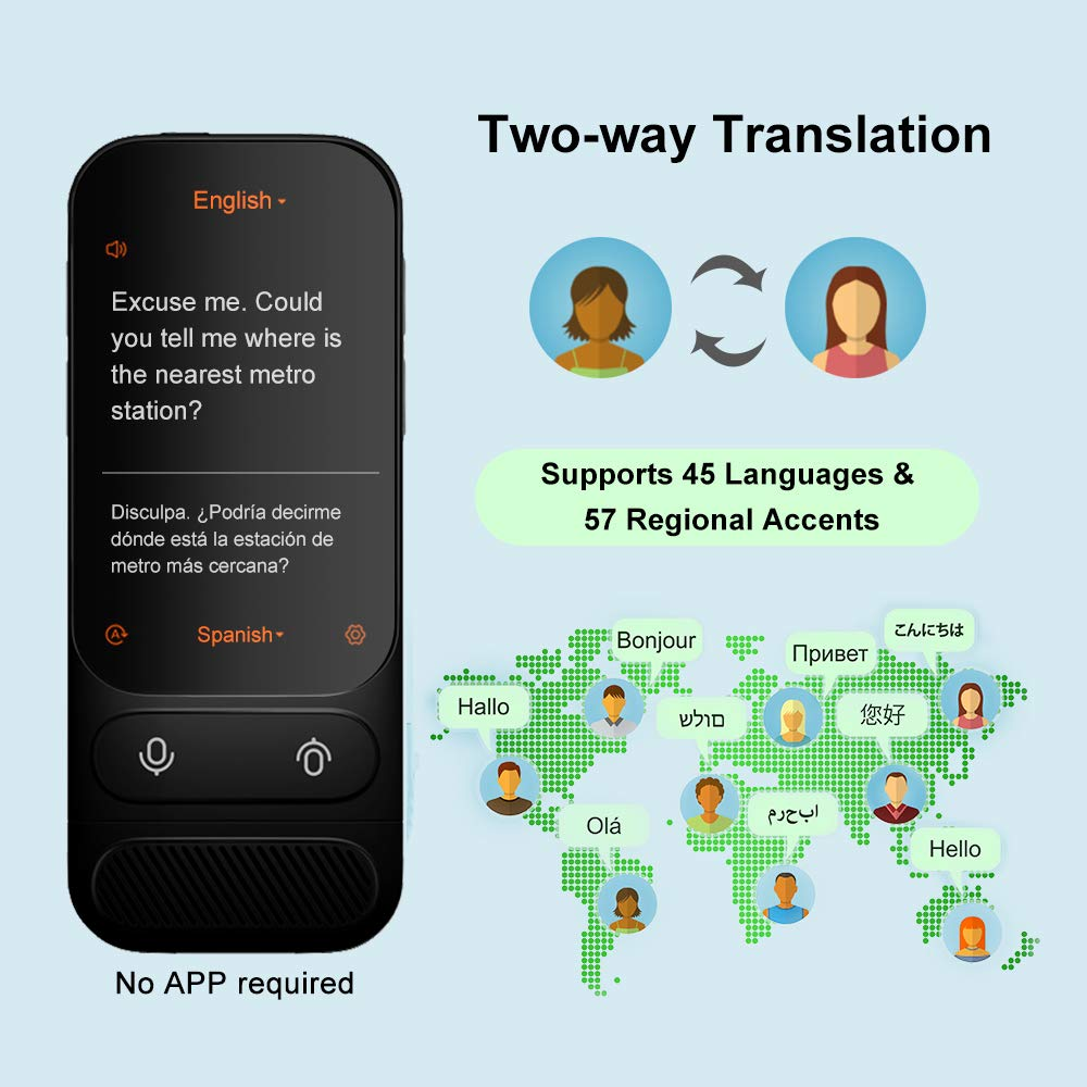 Alcorrect JoneR Voice Language Translator Device, Support Photo Translation, 45 Languages + 57 Accents Instant Two-Way Translator, 3.1 inches Touch Screen, GO by Alcorrect (Image #2)