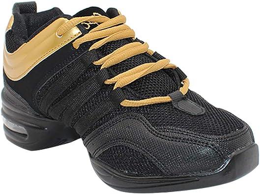 Yudesun Mujer Zapatos Aire Libre Deportes Danza - Mujeres Lona Cordones Suela de Goma Zapatillas Practicidad Running Sneaker Jazz Contemporáneo Baile Informal Oro Negro (Los Zapatos Son más pequeños): Amazon.es: Zapatos y