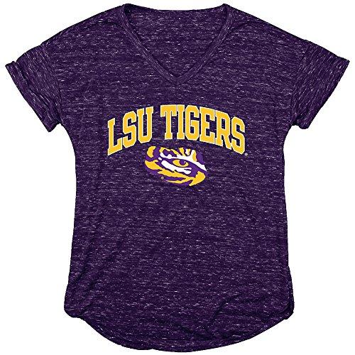 Elite Fan Shop LSU Tigers Womens Vneck Tshirt Purple - L - Lsu Tigers Womens T-shirt