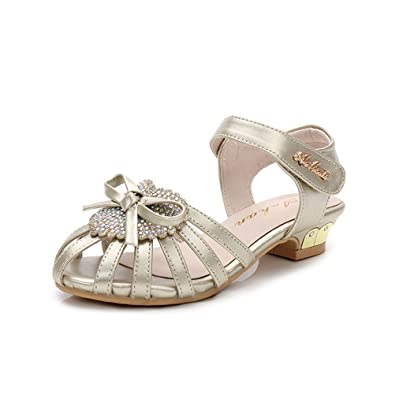 0ae0f0441fe5 Always Pretty Round Toe Girls Heels Toddler Girl Sandals Girls Dress Shoes  Gold 10 M US