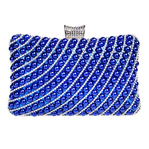 Elegant Chain Womens Blue Clutches Bags Purse For Wallet Party Evening Handbags 6YqBZprn6