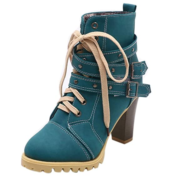 Women Lace Up Casual Boots Vovotrade Ladies Belt Buckle High Heel Shoes Leisure Ankle Boots by Vovotrade Shoes
