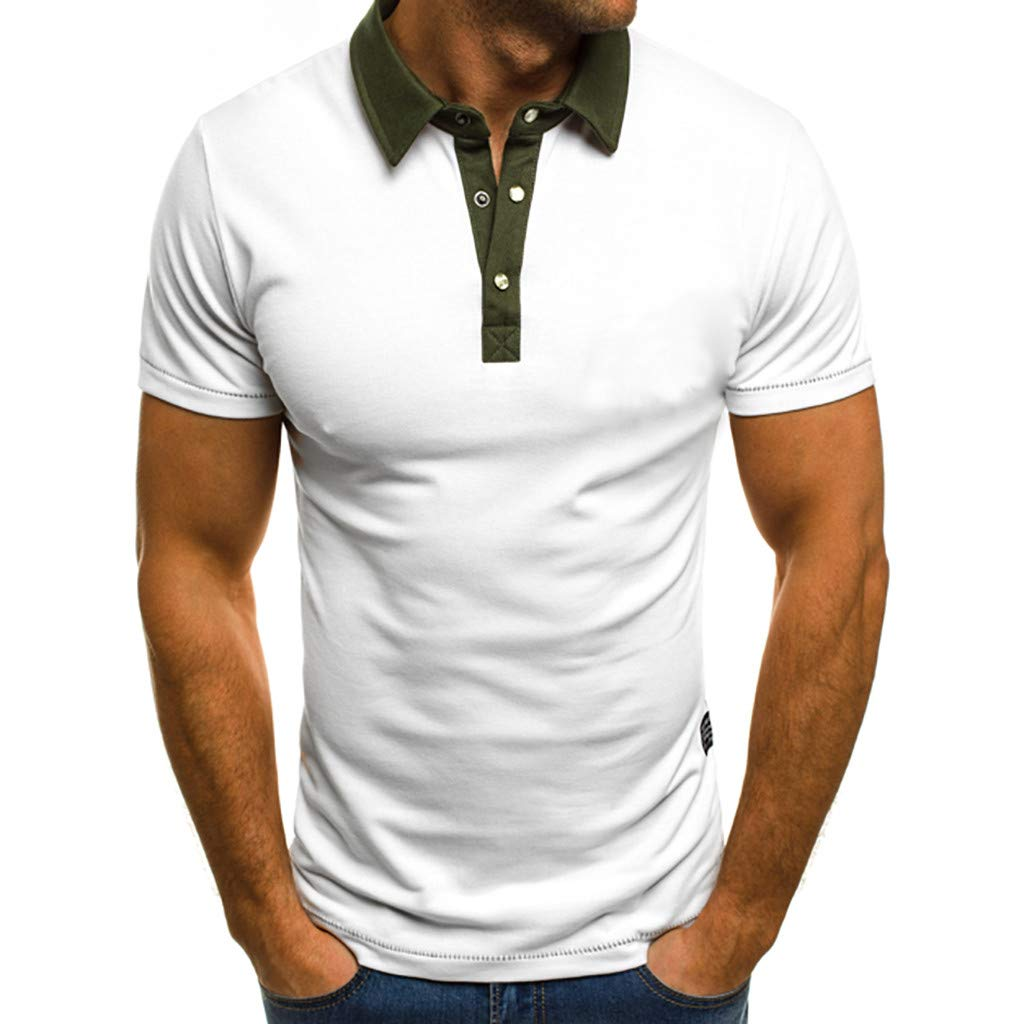 HimTak Summer New T-Shirt For Men's Fashion Solid Color Short-Sleeved Lap Button Button Top Dress Versatile Simple Pullover