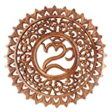NOVICA Brown Hand Carved Suar Wood Floral Wall Panel, 'Omkara Altar'