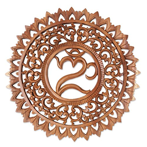 NOVICA Brown Hand Carved Suar Wood Floral Wall Panel, 'Omkara Altar' by NOVICA