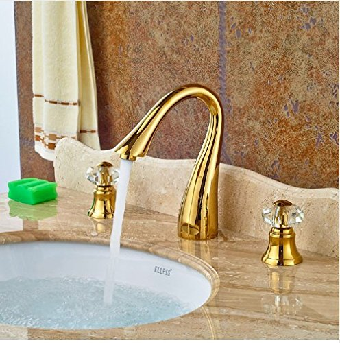 Gowe Widespread Double Crystal Handles Deck Mounted Basin Faucet Vessel Sink Tap Mixer Faucet 2