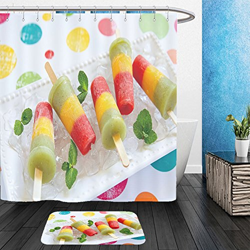 Vanfan Bathroom 2?Suits 1 Shower Curtains & ?1 Floor Mats homemade pureed fresh fruit popsicles with strawberry mango peach and kiwi 247666075 From Bath (Homemade Basketball Hoop)
