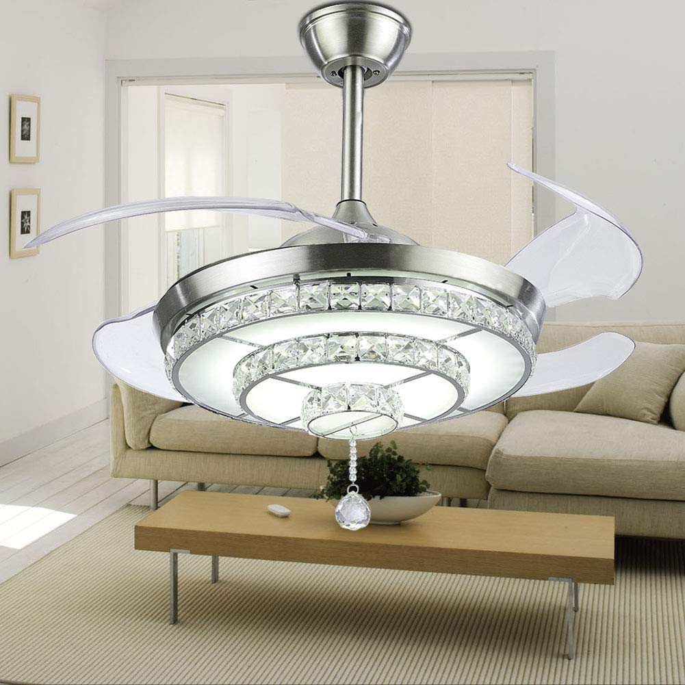 Crystal Chandelier Ceiling Fan for Living Room Bedroom with LED Light Kit and Remote Control