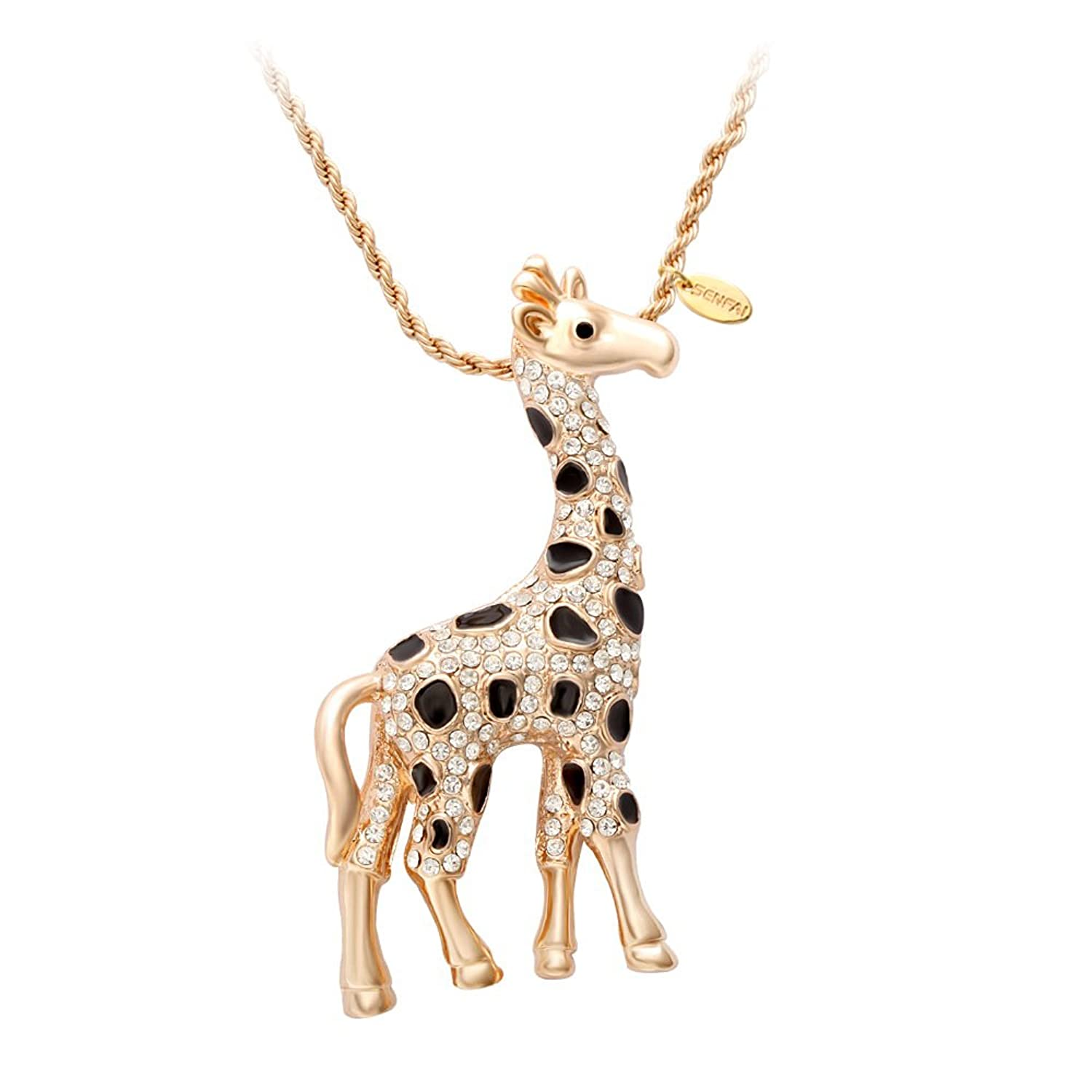 chain betsey johnson charm itm crystal enamel necklace giraffe cz double pendant s