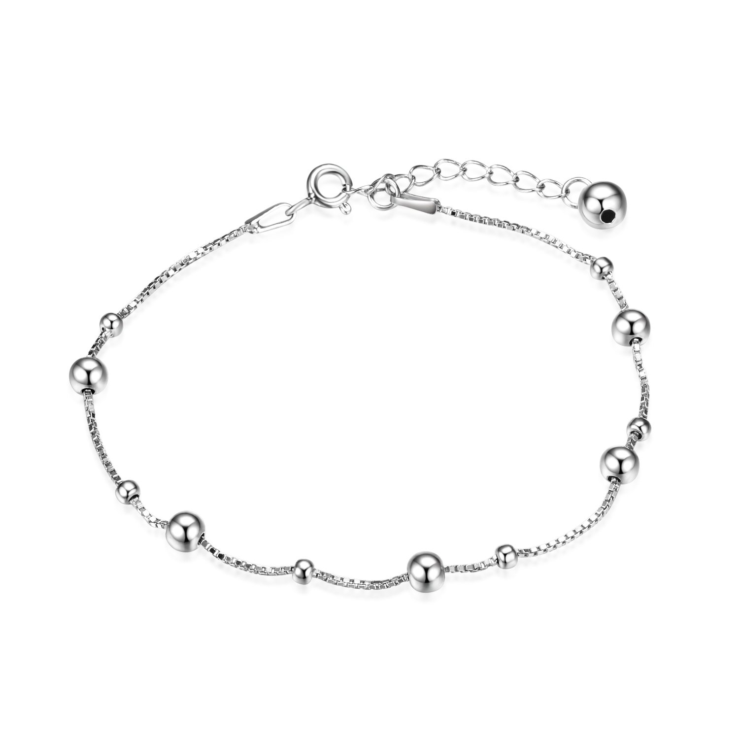 LUHE Ball Bead Chain Bracelet Sterling Silver Adjustable Nickel-Free Thin Chain Bracelets for Women Girls, 6.7'' to 8.1''