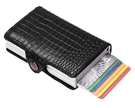 adbb61cd17a Secrid Twin wallet leather amazon black, Slim Credit Card Wallet / with  RFID protection, with one click all cards slide out gradually.