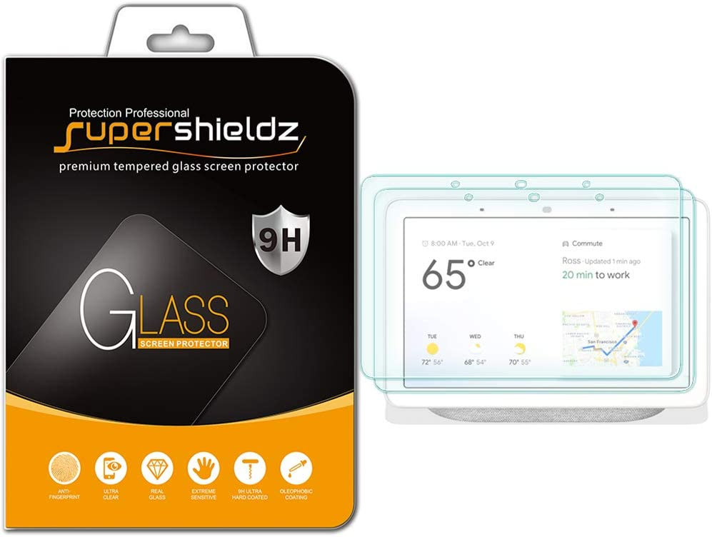 (2 Pack) Supershieldz for Google Home Hub and Nest Hub (7 inch) Tempered Glass Screen Protector, Anti Scratch, Bubble Free