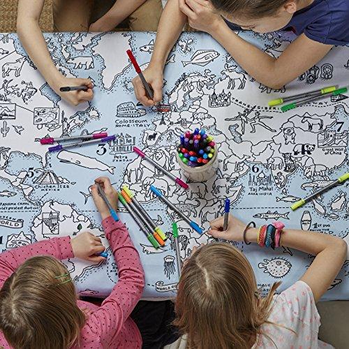eatsleepdoodle Doodle World Map Tablecloth, Color Your Own Tablecloth, Coloring Tablecloth with Washable Fabric -