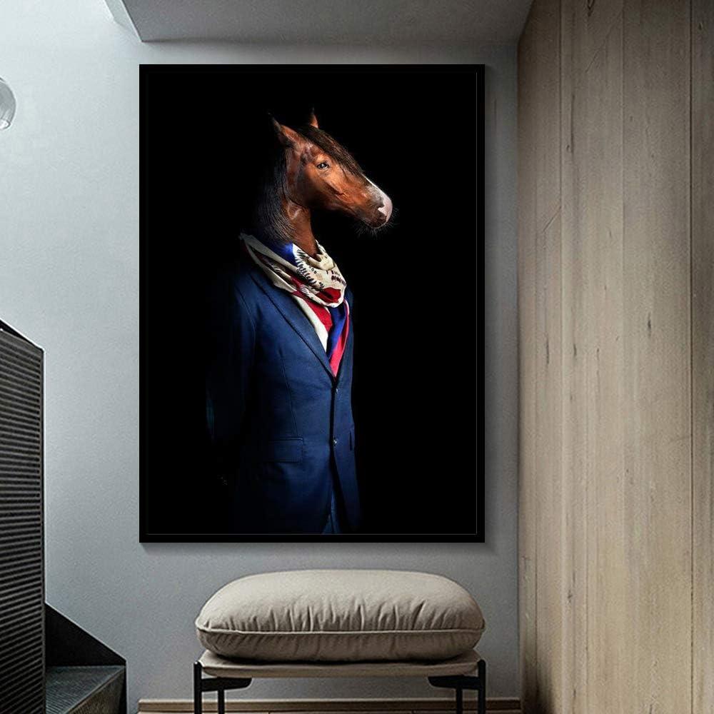 BailongXiao Elegante Blanco y Negro león Tigre Elefante Jirafa Lobo Caballo Arte de la Pared póster y Animales sobre Lienzo,Pintura sin marcoCJX422-60X80cm
