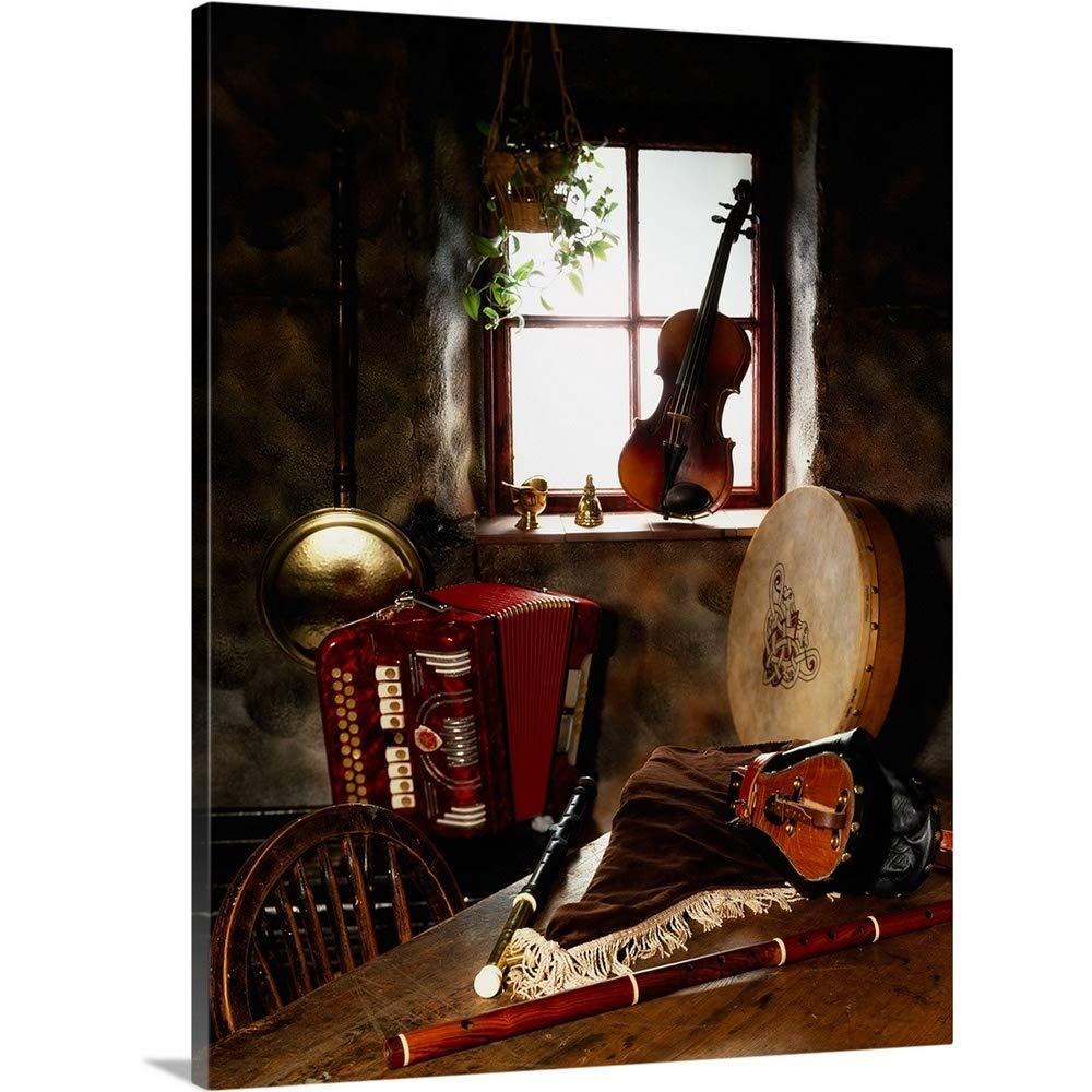 The Irishイメージコレクションプレミアムthick-wrapキャンバス壁アート印刷従来の楽器というタイトルの古いCottage、アイルランド 24