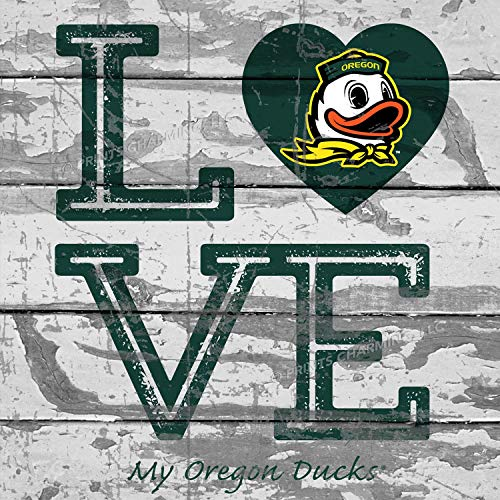 (Prints Charming College Love My Team Duck Logo Square Oregon Ducks Unframed Poster 13x13 Inches )