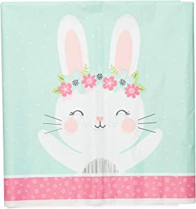 Creative Converting Party Supplies, Bunny Party Plastic Tablecloth, Tablecover, Multicolor, 108X54In
