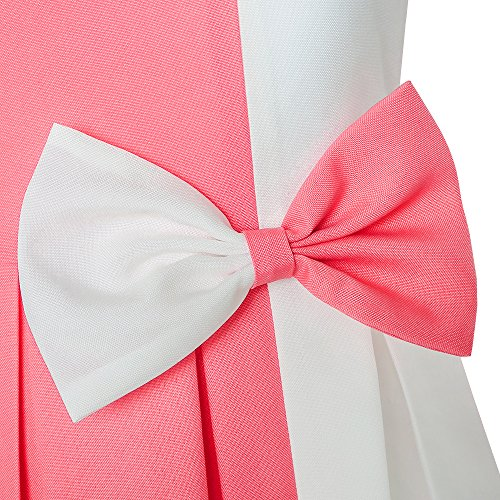 Years Contrast Color Block Coral Girls Bow 4 Tie Dress 14 Party Size Red Everyday tPqwWZC5W
