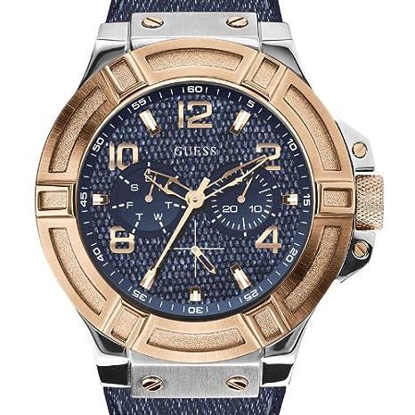 Bracelet Montre Analogique W0040g6 Homme Quartz Bleu Cuir Guess R34LS5Aqcj