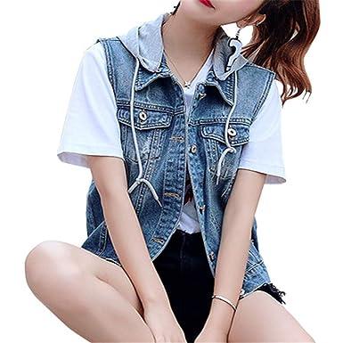 c1d3fe169fadd4 Damen Loch BF Stil Ausfransen Weste Jacke Ärmellos Einfache Beiläufige  Jeansweste mit Kapuze Blau 4XL