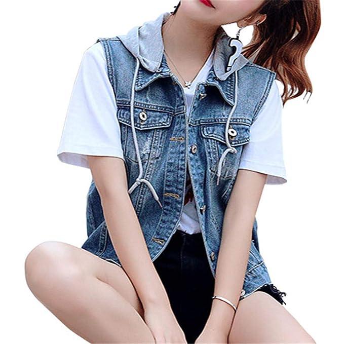 43e4550d5c Donna Slim Fit Gilet Jeans Senza Maniche Giacca Corte Eleganti con ...