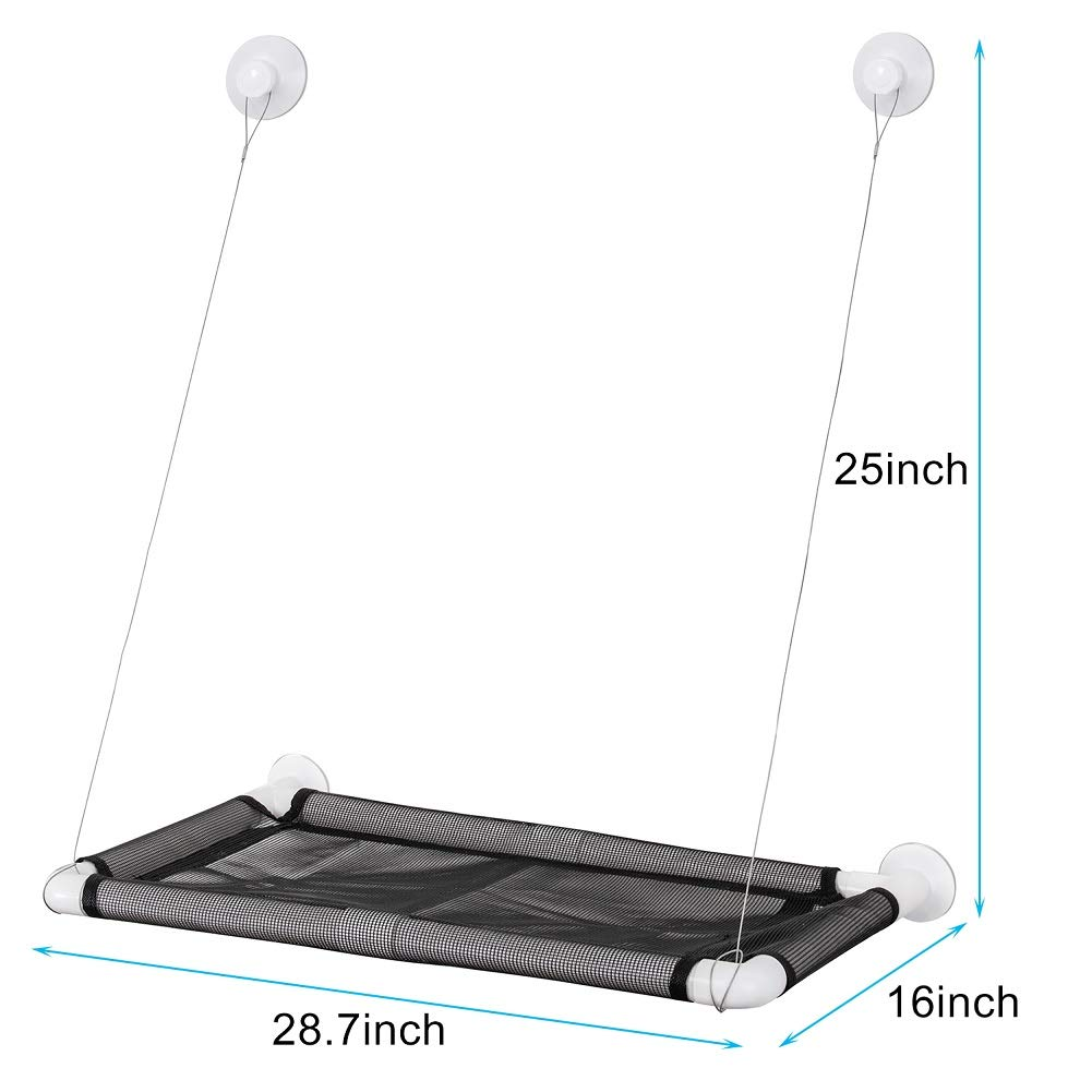 ITEPT DIY Cat Sunbath Bed Sunny Seat Window Perch Pet Resting Seat Shelves Hammock Suction Cups Mounted Large Kitties Sunny Bed Up to 55lb (Black) by ITEPT