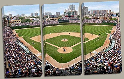 At the Ballpark | Popular Wrigley Field Stadium Triptych Panels; Three 12x24in