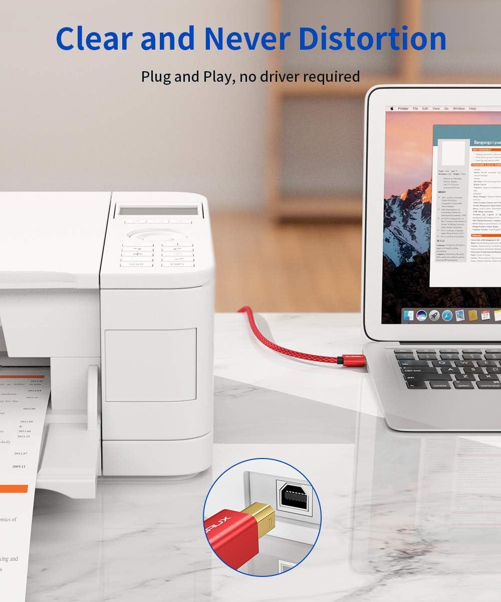 JSAUX Cable Impresora [3M] Cable Impresora USB Tipo B 2.0 Compatible para Impresora HP, Epson,Canon,Brother,Lexmark,Escáner,Disco Duro,Fotografía Digital y Otros Dispositivos-Rojo: Amazon.es: Electrónica