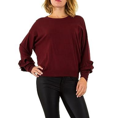 another chance 6c76f b84d7 Damen Pullover Pulli Sweatshirt Shirt Volant Weinrot ONE ...