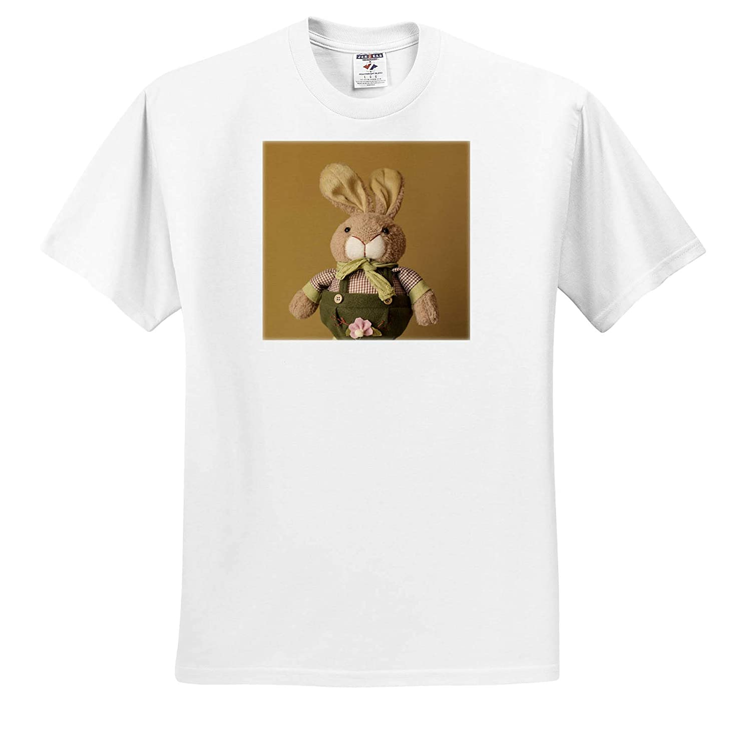 3dRose Stamp City Photograph of a Stuffed Bunny Dressed in Overalls and a Plaid Shirt Holiday - T-Shirts