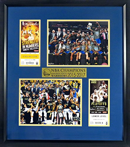 """Golden State Warriors """"2015 & 2017 NBA CHAMPIONS"""" Ticket Display (Feat. Team Trophy Photos) Framed"""