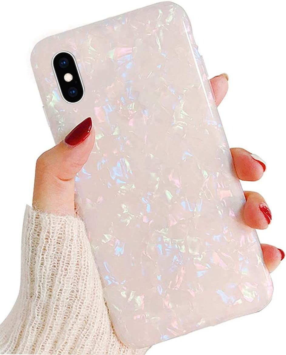 "J.west iPhone X Case, Opal iPhone X Case Luxury Sparkle Bling Crystal Clear Soft TPU Silicone Back Cover for Girls Women for Apple 5.8"" iPhone Xs (Colorful)"