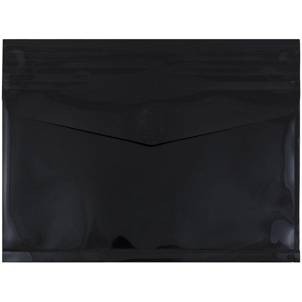 JAM PAPER Plastic Expansion Envelopes with Hook & Loop Closure - Letter Booklet - 9 3/4 x 13-2 Expansion - Black - 12/Pack