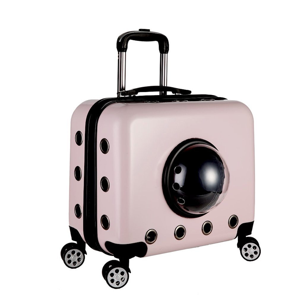 A Pet Trolley Case Small Pet Rod Travel Bag Portable Breathable Four Rounds Pet Travel Bag Cat Stroller Outdoor Travel Pet Supplies (color   A)