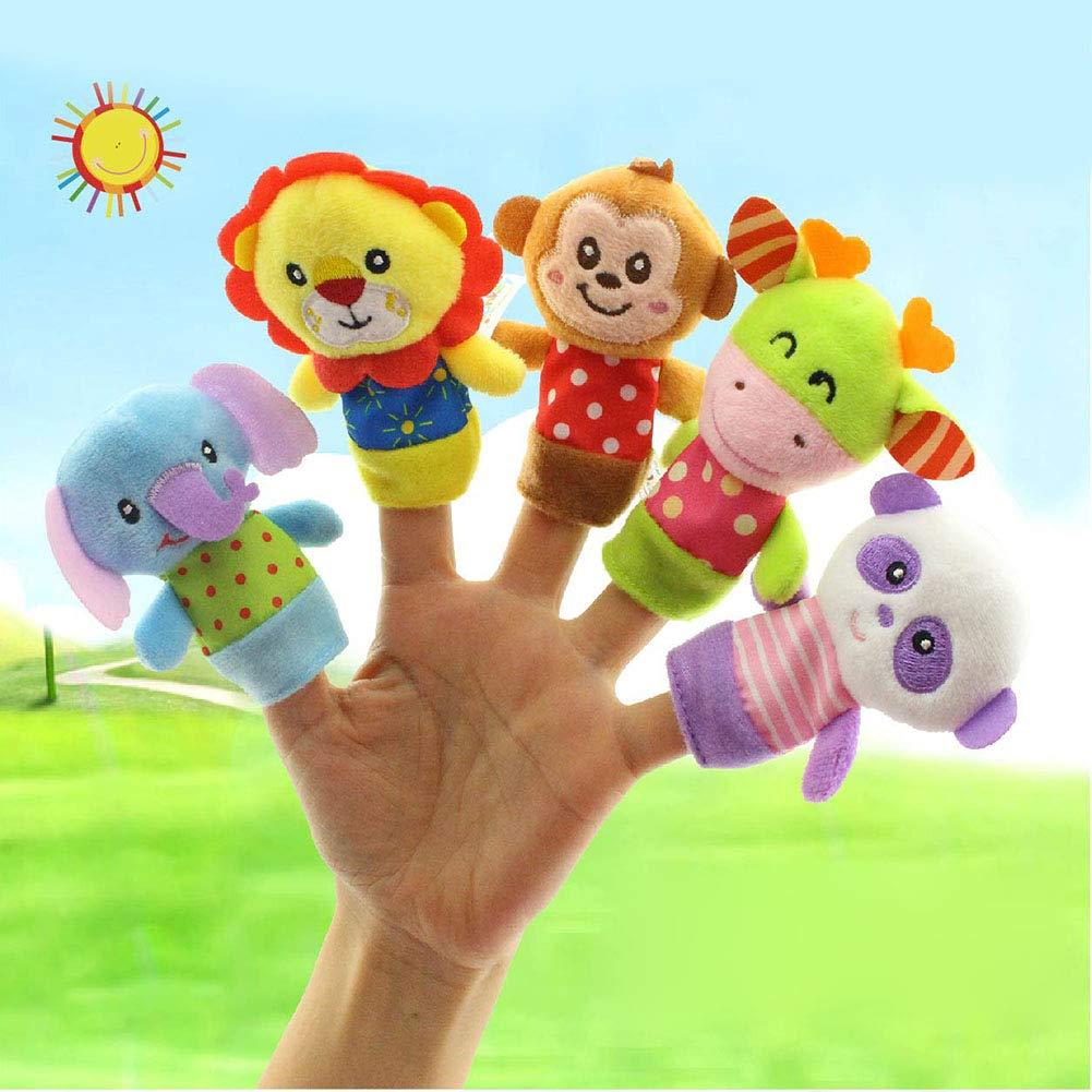 Soulitem 5 Unids//Set Juguete de Los Ni/ños Mu/ñeca del Dedo Beb/é Mano Marioneta Kid Educaci/ón Temprana Familia Interactivo Lindo Animal de la Historieta Peluches