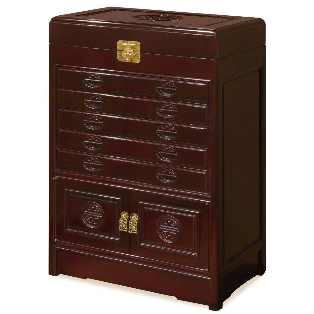 Chinese Rosewood Longevity Design Silverware Chest - Cherry by ChinaFurnitureOnline