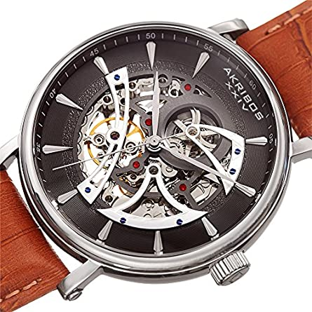 Father s Day Gift – Akribos Automatic Mechanical Skeleton Watch Crocodile Embossed Genuine Leather Strap Automatic Mechanical Skeletonized Wristwatch See Through Dial – AK1020