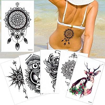 6 hojas Tatuajes temporales falsos cuerpo de joyería negro DIY Art ...